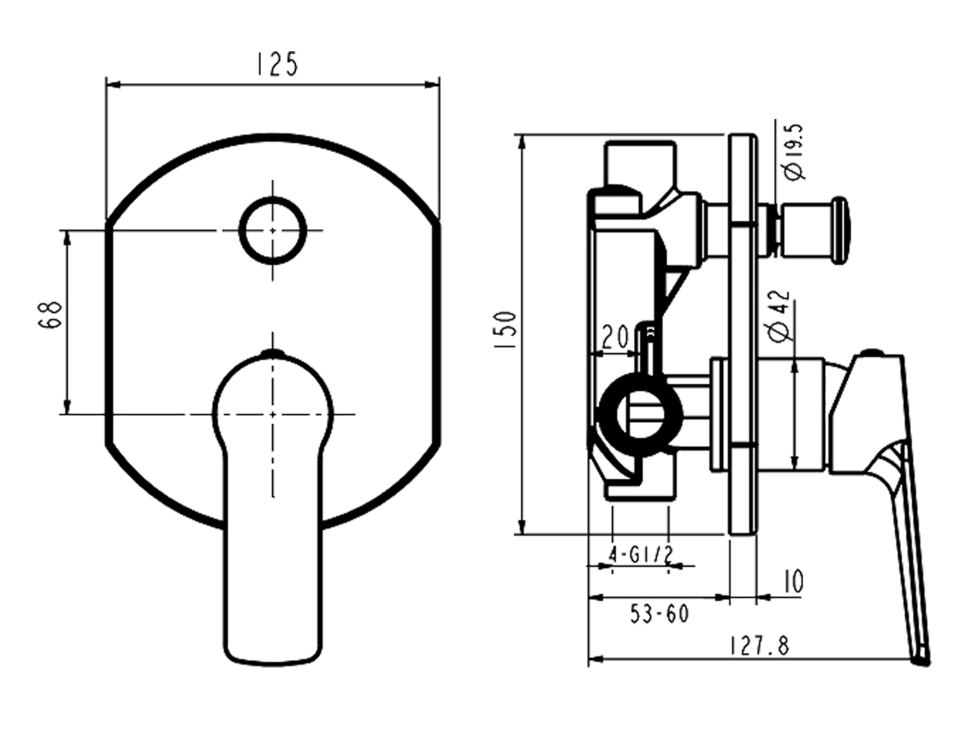 In Wall Mixer W Diverter Novas Schematic Drawing