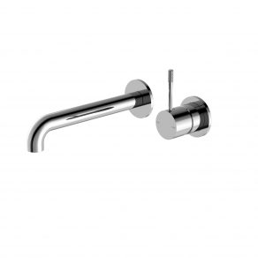 WALL BASIN MIXER KNURLED LEVER W/UP LEVER 230MM SPOUT