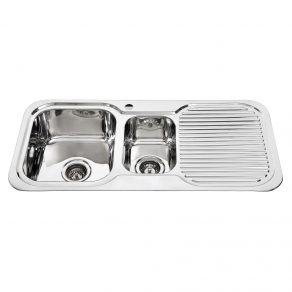 DOUBLE SINK & DRAINER 980mm